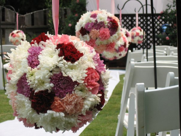 Aisle decor floral globes