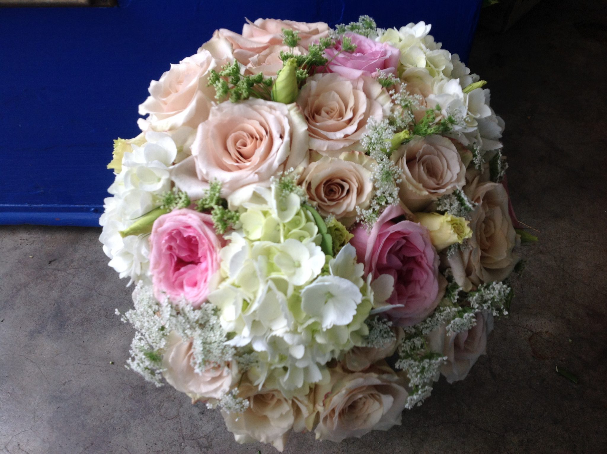 Classic Nosegay Style Bouquet made with Roses and Hydrangea.