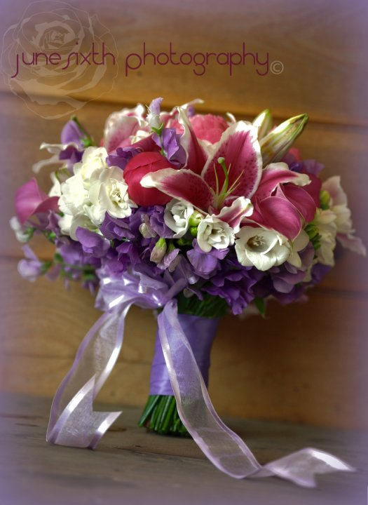 Springtime Fragrant Classic Nosegay Style  Bride Bouquet with Lily, Peony and Freesia