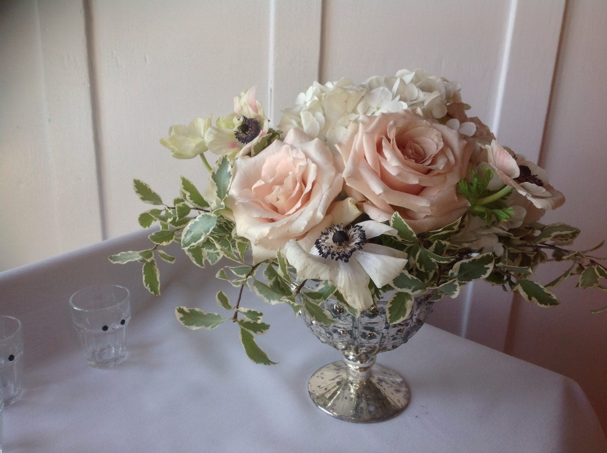 Blush Roses in Footed Vase