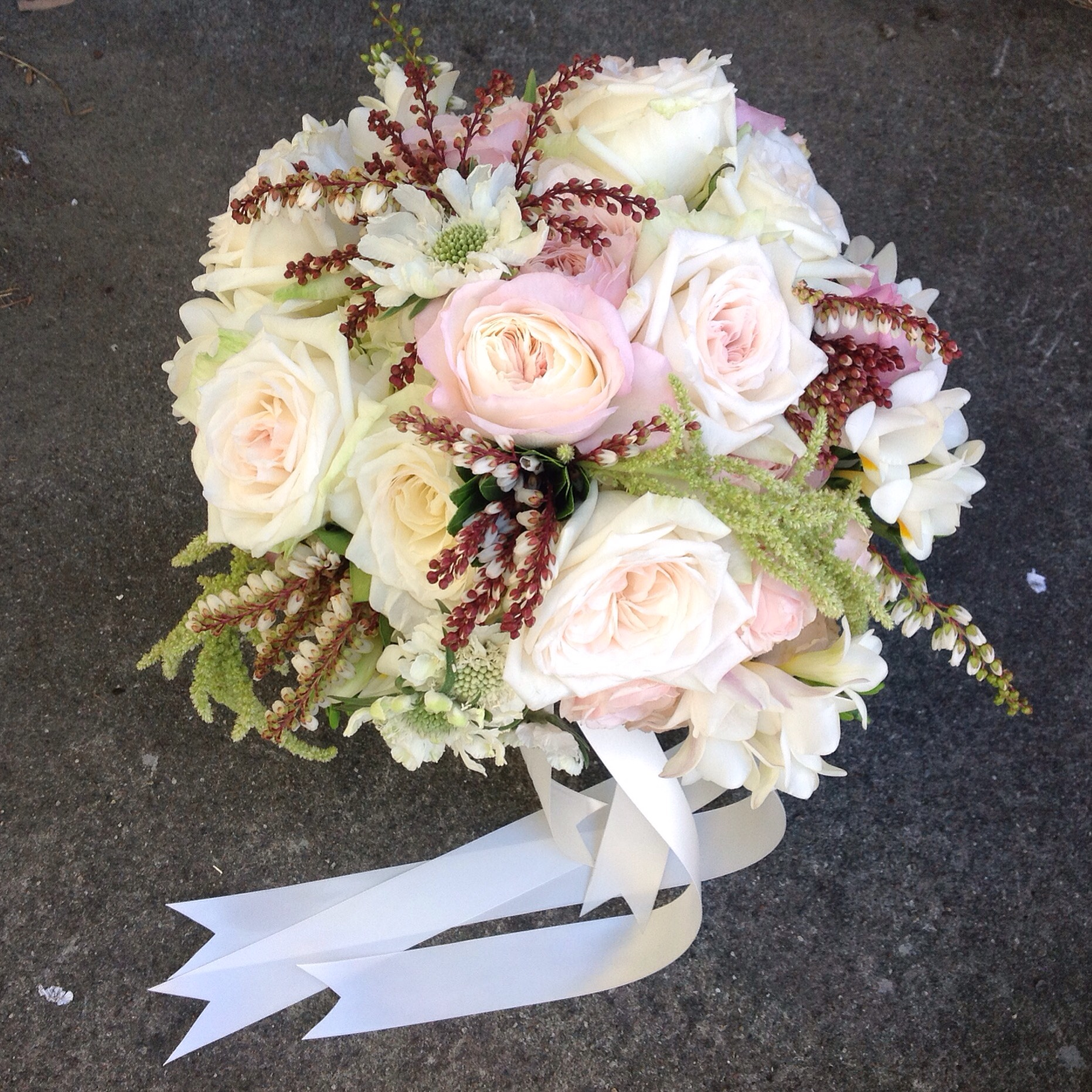 Classic Nosegay style Bride Bouquet with fragrant Garden Roses