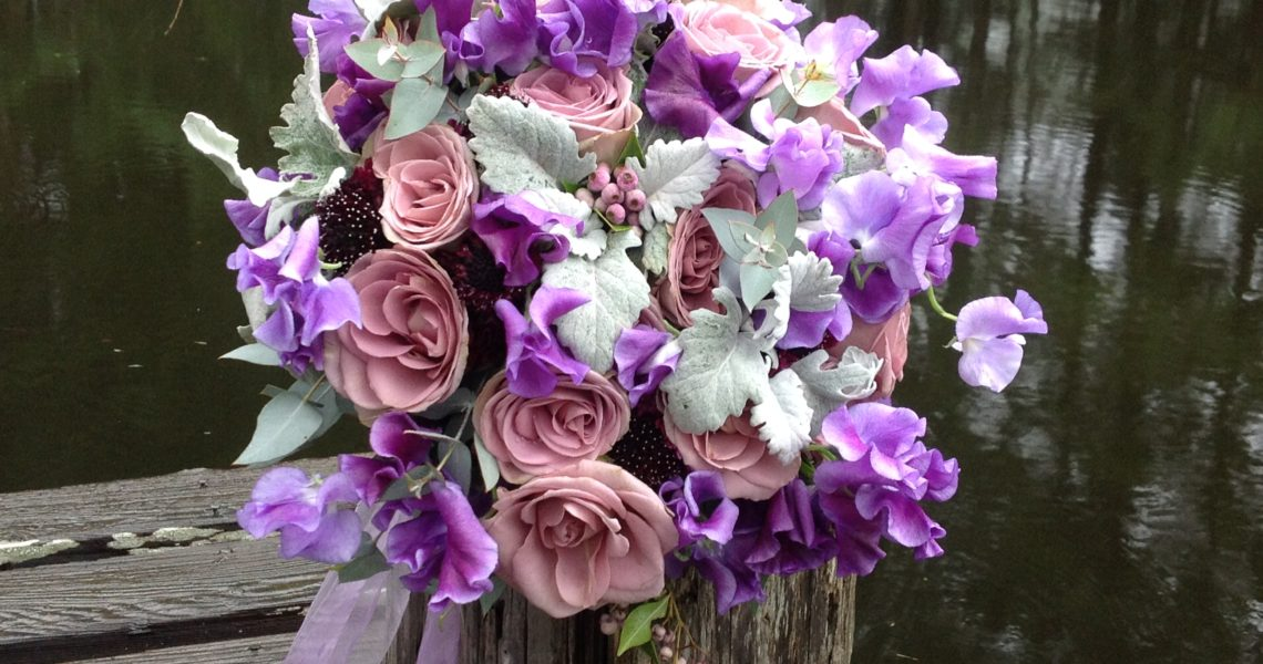 purple nosegay bride bouquet