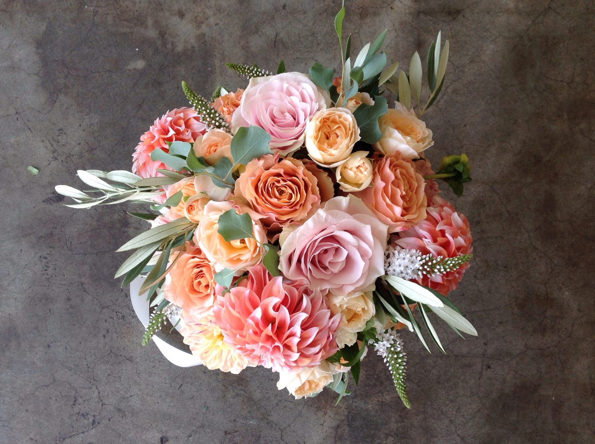 Classic Pastel Nosegay Style Bride Bouquet with summer Dahlias and Roses.