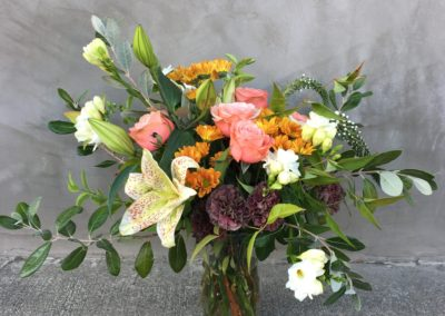 Rose and Lily Vase Garden Style