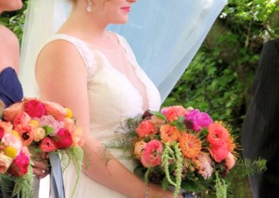 Bride and Bridesmaid with bouquets