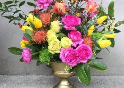 Brass Vase medium Rose Arrangement