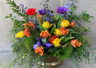 Large arrangement in bright color theme